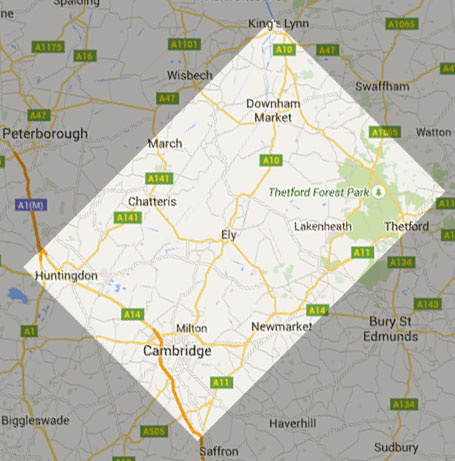 The area we serve - King's Lyn - Thetford - Saffron Walden - Huntingdon